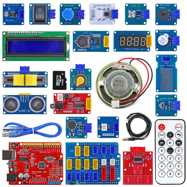 Easy Starter Kit Easy plug colorful XH 2.54mm socket Sensor Kit with MP3 RTC Temperature Sensor module for Arduino UNO R3