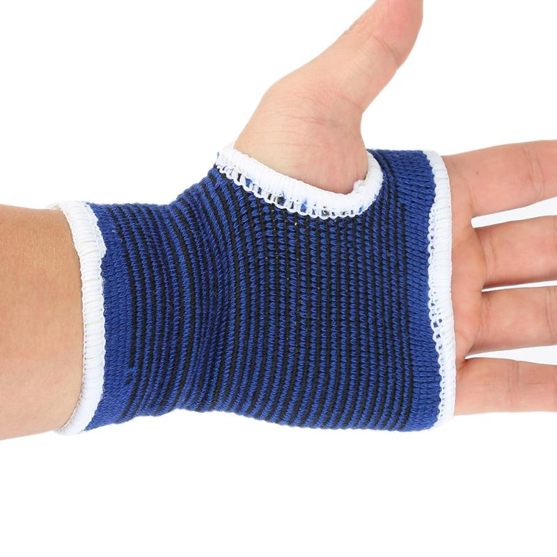 2 Pcs Unisex Blue Palm Wrist Hand Support Glove+Elastic Sweatbands Brace Wraps Guards For Gym Volleyball Badminton Sports Safety