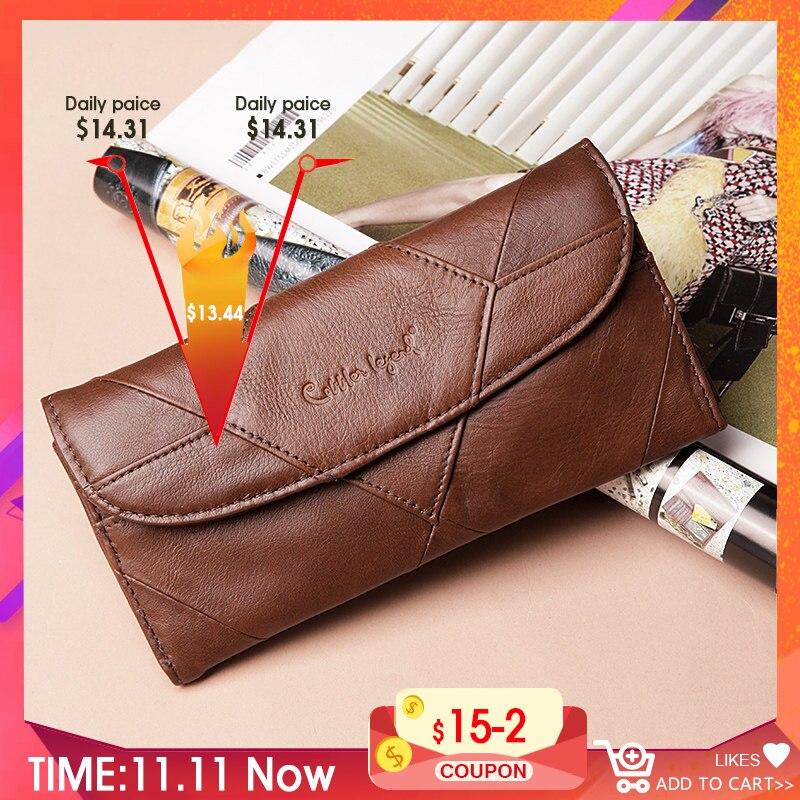 Cobbler Legend Diamonds Patchwork Genuine Leather Wallet Birthday Gift For Women Purse Clutch Bag Designers Brand Wallet Women