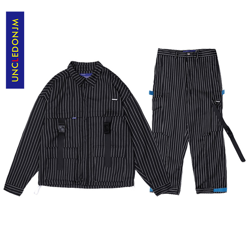 UNCLEDONJM Men Sets/Suits Autumn 2019 Stripe Outwear Coat Casual Straight Harem Pants Male Fashion Tape Ribbons Trousers