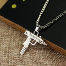 New Uzi Gun Cross Pendant Necklaces Long Cuban Link Chain Fashion Necklace For Unisex Hip Hop Jewelry(China)