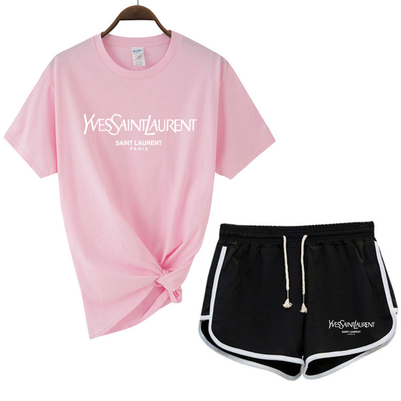 2021 Hot Sale Summer Best Quality Brand Womens Tops + Lace-up Shorts Two-piece Letter Printed T-shirts Shorts Ladies Harajuku C