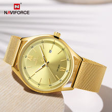 NAVIFORCE Couple Watches Luxury Brand Gold Wristwatch For Men and Women Waterpro