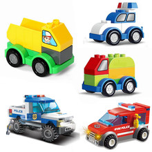 For Legoing Duplo Cars Fire Truck Excavator Technic Big Size Kids Toys City Building Blocks Vehicles Compatible Legoings Citys(China)