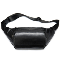 Genuine Leather Men Waist Bag Cell Phone Bag For The Belt Sac Banana Homme Travel Crossbody Bags Male Fanny Chest Pack Black