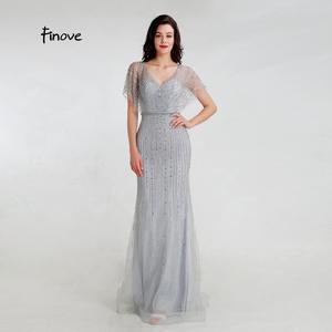 Image 4 - Finove 新マーメイドイブニングドレス 2020 セクシーな V ネック完全ビーズイリュージョン床の長さパーティードレスフォーマルロングドレス