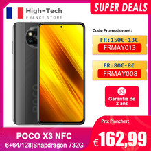 POCO X3 NFC 6GB + 64 / 128GB Version globale Smartphone 6.67 `` 120Hz Affichage Snapdragon 732G 64MP Quad Camera 20MP Selfie 5160mAh 33W,Code promotionnel:FRMAY013,FRMAY008