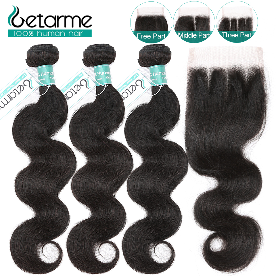 Peruvian Body Wave Bundles With Closure Natural Color 3 Bundles With Closure Remy Human Hair Extensions Getarme Hair