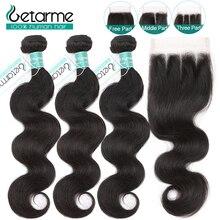 Peruwiański doczepy typu Body Wave z zamknięciem Natural Color 3 zestawy z zamknięciem Remy doczepy z ludzkich włosów Getarme Hair