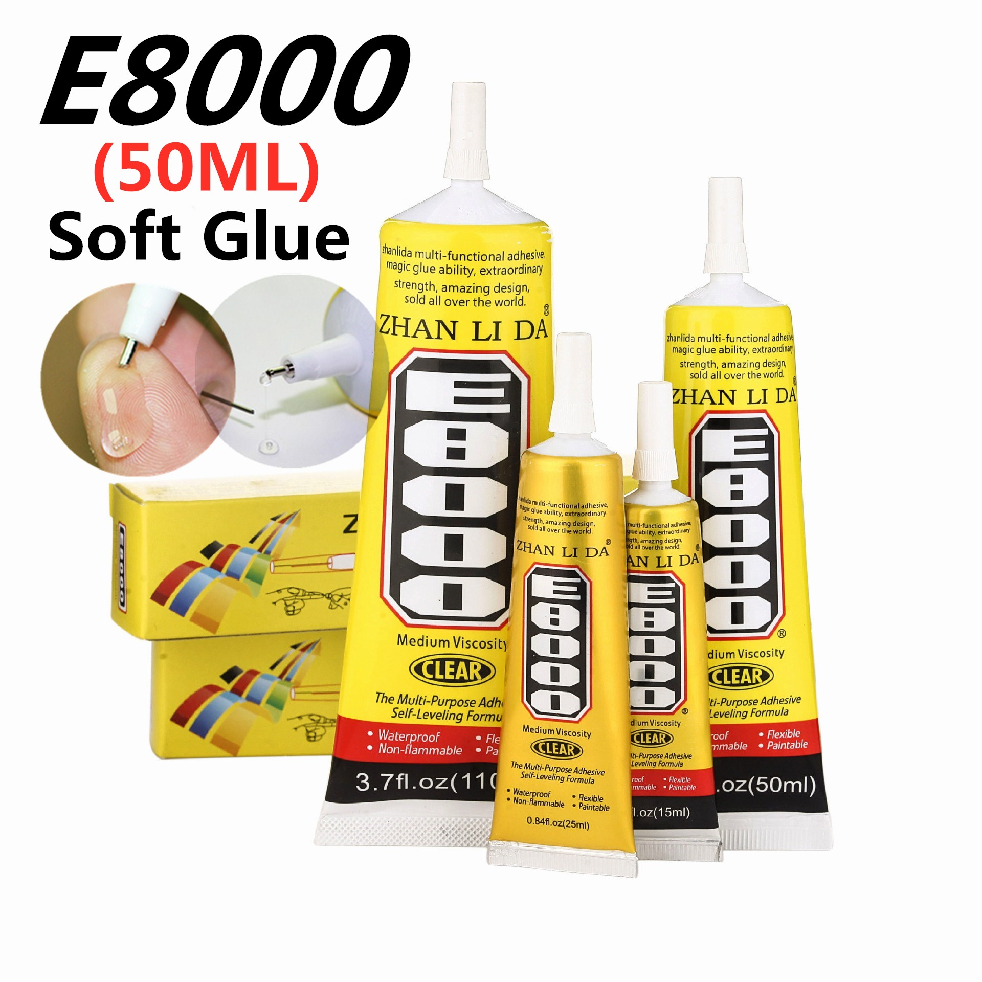 50ml E8000 Strong Liquid Glue Clothes Fabric Clear Leather Adhesive Jewelry Stationery Phone Screen Instant Earphone