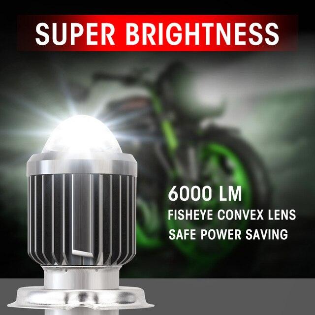 Motorcycle Headlight LED H4 H6/BA20D Led Bulb Moto 6000LM Hi-Lo Beam Lamp Scooter Accessories 12V 24V llightings 5