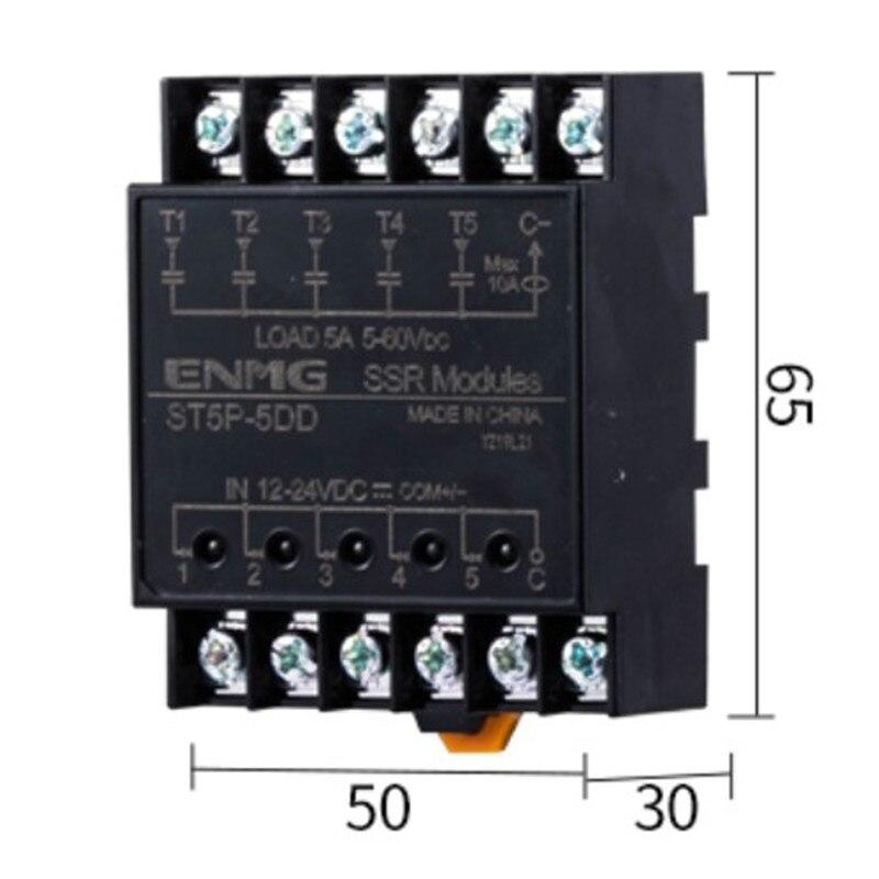 Módulo de relé de estado sólido aislado con luz SSR ST5P-5D-N ST5P-5DD ST5P-5DA-N sin contacto módulo de relé de estado sólido 8 ruta 12V24V5A