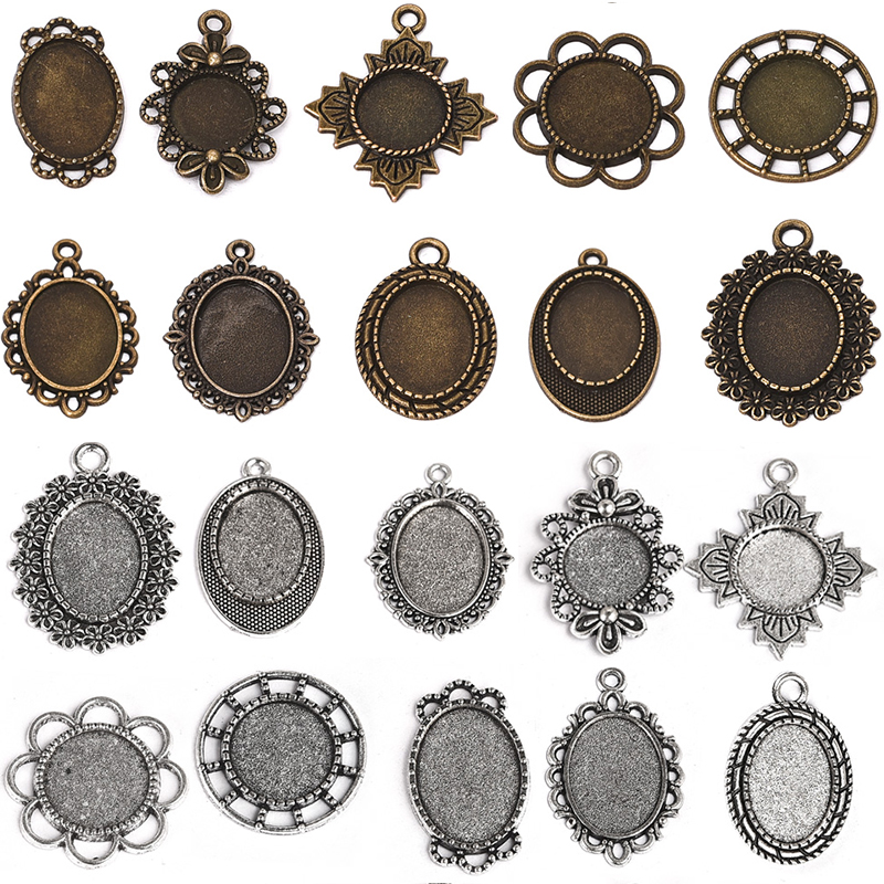 20pcs Pendant Blank Cameo 12mm 14mm Oval Round Cabochon Base Setting Bezel Tray For Earring Necklace DIY Jewelry Making Supplies