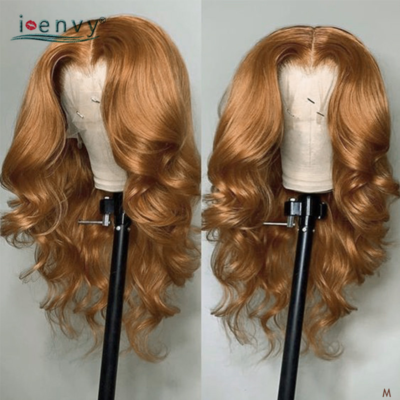 Brazilian Ginger Blonde Lace Front Human Hair Wigs Body Wave Pre Plucked Gold Blonde Curly 13X4 Lace Frontal Wig 180% Non-Remy