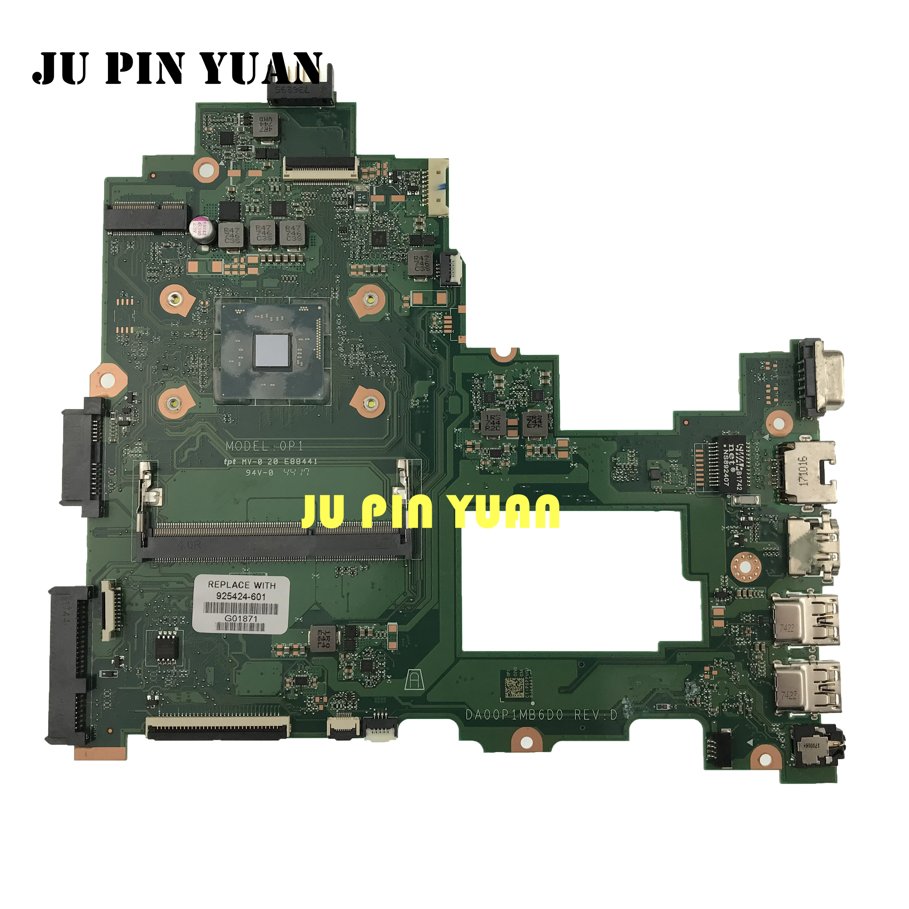 For HP Laptop 14-bs Laptop motherboard 925424-601 925424-001 925424-501 DA00P1MB6D0 Mainboard with N3710 fully Tested image