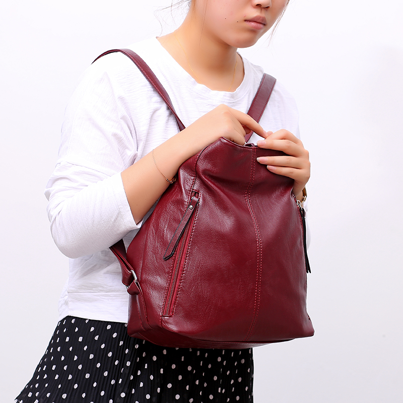Image 4 - Women Leather Handbags High Quality 3IN1 Female Soft Leather Shoulder Bag Large Capacity Tote Bags Female Sac Ladies Hand BagTop-Handle Bags   -