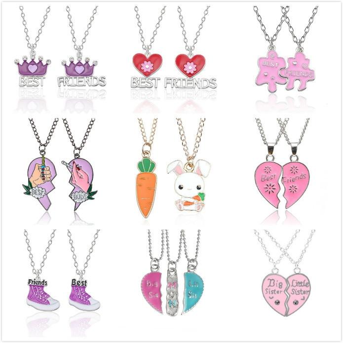 2 PCS Best Friends Love Couple Necklace For Women Cut Animal Rabbit Rainbow Pendant Broken Heart BFF Good Friends Jewelry Gifts