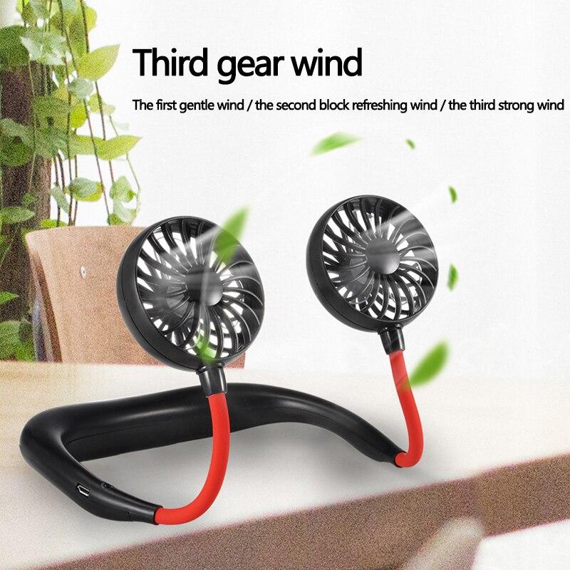 Portable Neck Fan - Hand Free Personal Neckband Fan, Rechargeable USB Hanging Neck Fan Premium Headphone Design Wearable Fan