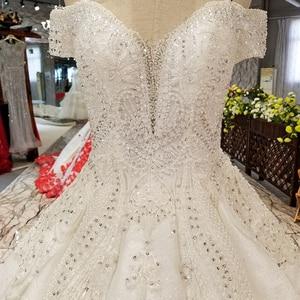 Image 4 - LS09670 어깨 아가씨 신부 가운 중국 온라인 상점 도매 오프 구슬과 바닥 길이 웨딩 드레스