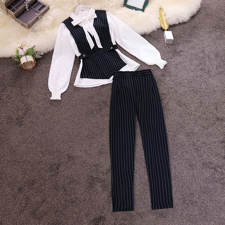 Women 2020 Spring Chic OL Elegant Lantern Sleeve Blouse Shirt + Striped Vest And Striped Trousers 3 Pieces Clothing Set