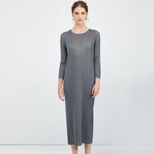 Corea 2020 nueva primavera cuello redondo Color sólido vestido de longitud media mujeres Vintage suelto Delgado Simple salvaje plisado vestido ropa PD090
