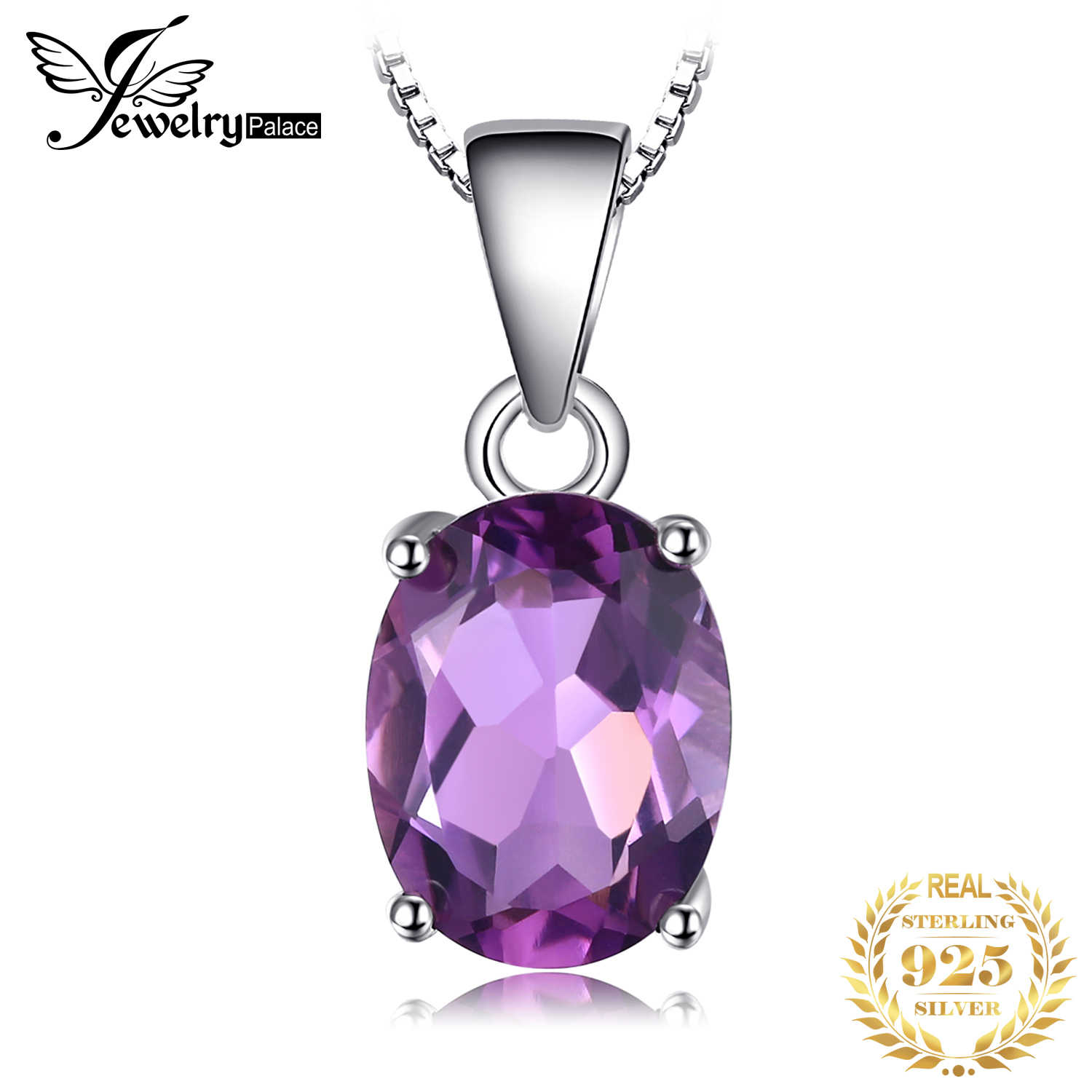 Natural Amethyst Pendant Necklace 925 Sterling Silver Gemstone Choker Statement Necklace Women silver 925 Jewelry Without Chain