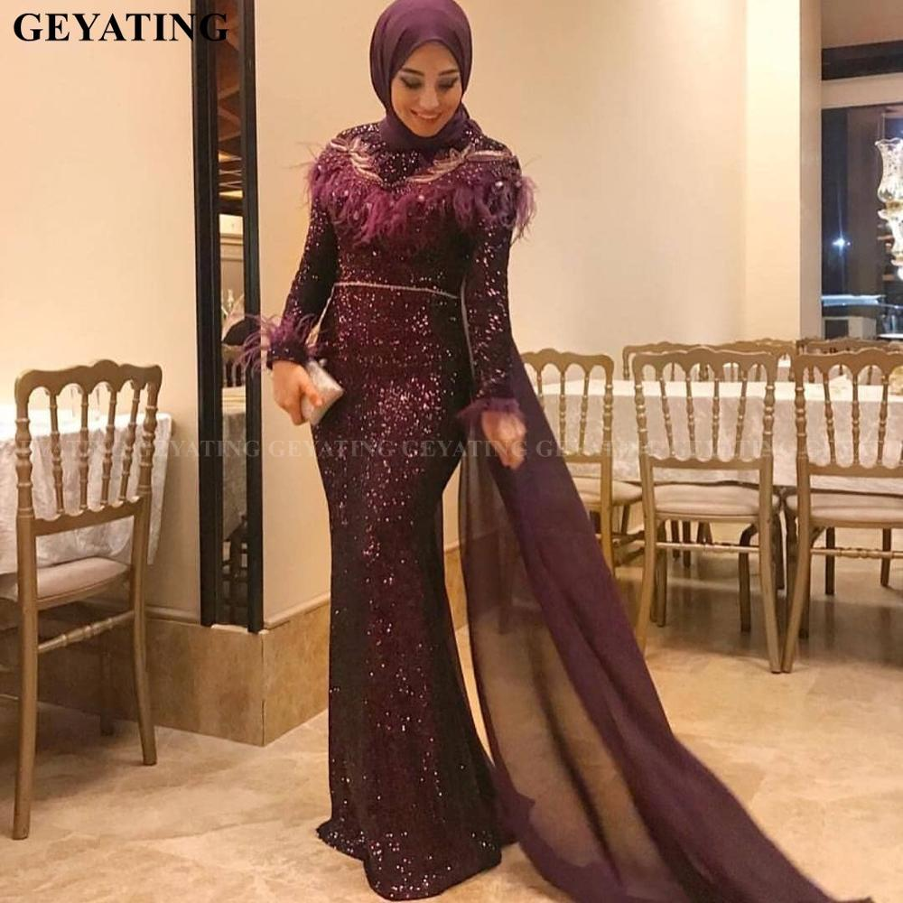 Sparkly Purple Sequin Mermaid Muslim   Evening     Dress   Long Sleeves Feather Beaded Arabic Long Formal Gowns Dubai Prom   Dresses   2020