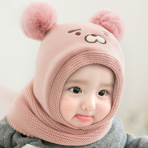Knitted Baby Boy Girl Winter Thicken Hat Shawl Scarf Set  Hooded Cartoon Tiger Bear Cute Hair Ball Cap Set Keep Warm