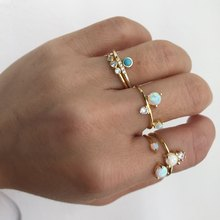 2020 Top Quality AAA CZ white fire opal stone Ring gold color Adjust open cz Rings women ladies finger thin delicate ring