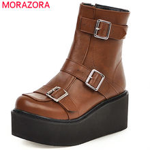 MORAZORA 2020 big size 46 women ankle boots round toe buckle zipper flat platform boots autumn winter cool punk shoes female(China)