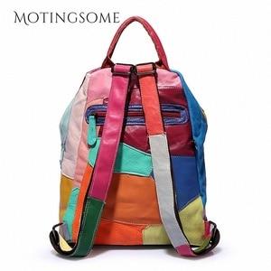 Image 4 - Hakiki deri sırt çantası koyun derisi sırt çantası tasarımcı seyahat renkli Patchwork lüks alışveriş çantası Mochila 2020 kadın çantası trendi