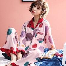 Sıcak satış baskılı sonbahar kış pijama seksi uzun kollu gecelik kadınlar için sevimli pembe uyku seti pijama pijama takım elbise 2 adet kıyafeti