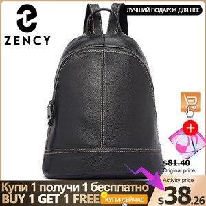 Image 1 - Zency 100% 정품 가죽 패션 여성 배낭 Preppy 스타일 여자의 Schoolbag 블랙 휴일 배낭 레이디 캐주얼 여행 가방