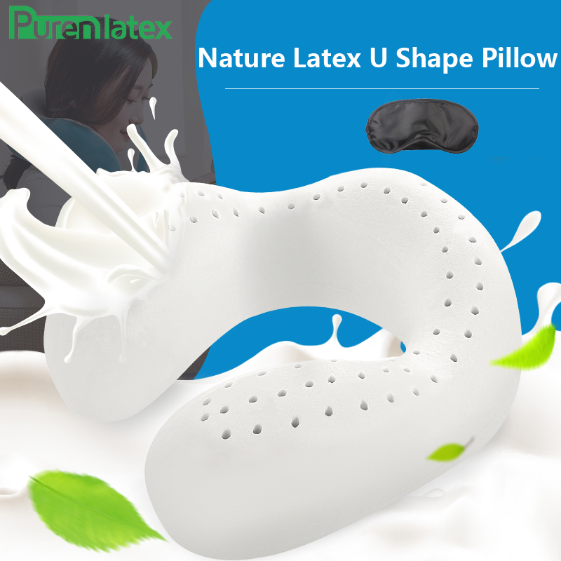 PurenLatex Travel Neck Pure Natural Latex Pillow Protect Cervical Spine Orthopedic Pillow for Travel Release Pressure Airplane image