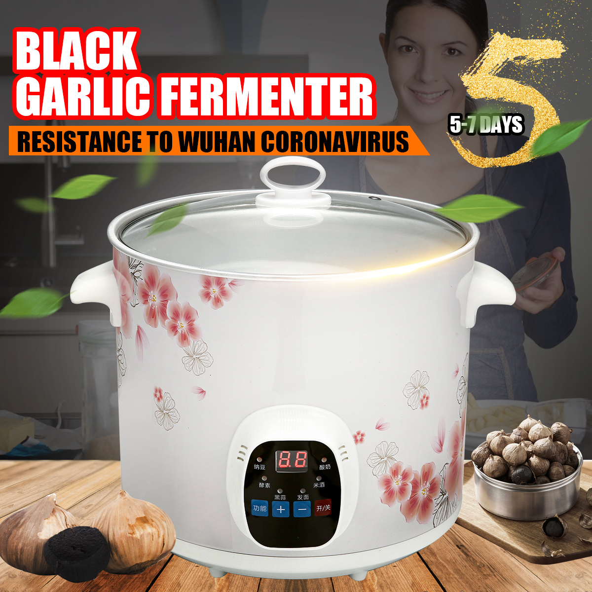 6L สีดำกระเทียมหมักสีดำกระเทียมหมักกล่องสมาร์ทหมักเครื่องห้องครัวกระเทียม Maker หม้อหุงข้าว