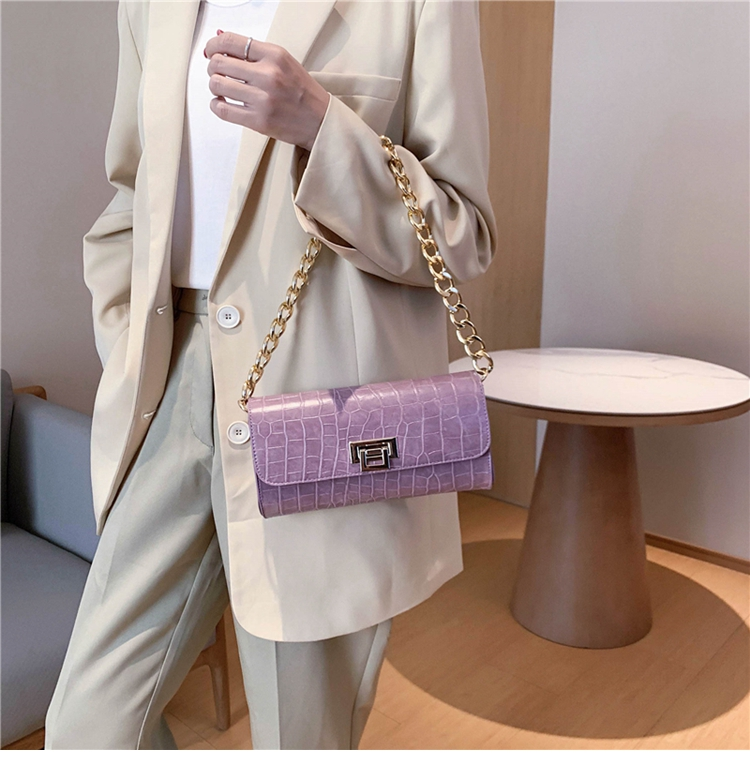 Crocodile Pattern Vintage Soild Color Small Square Bag For Women 2020 summer Handbag And Small Chain Bags Fashion Armpit Bag (6)