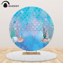 Allenjoy sereia festa de aniversário redonda pano de fundo sob o mar chuveiro de bebê planta aquática peixes escala personalizar círculo capa banner