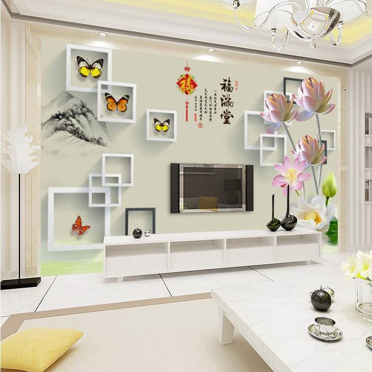 Chinese Style 3D Large Mural Seamless Television Sofa Bedroom Bedside Wall Non-Woven Wallpaper