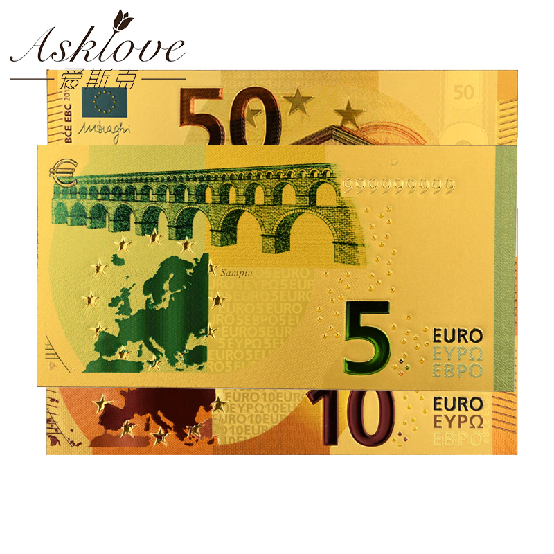 EUR Gold Banknotes 24K Gold Foil Fake Paper Money for Collection Souvenir Euro Banknote Sets 5 10 20 50 Eur Banknotes Sample