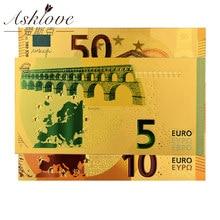 Billetes de oro de 24 quilates, papel falso de aluminio para colección, juegos de billetes de Euro de recuerdo, muestra de billetes de 5, 10, 20 y 50 EUR