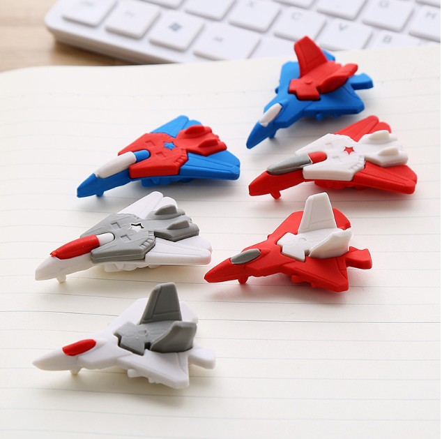 1PCs Aircraft Shape Eraser Cute Cartoon Toys Removable DIY Rubber Prizes For Primary School Students Gifts