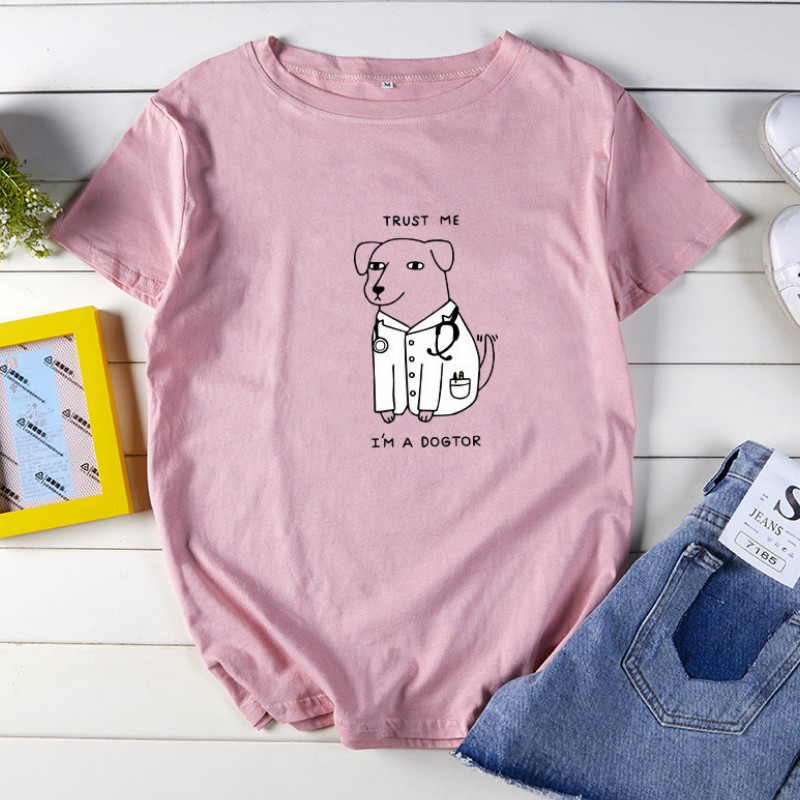 Funny T-shirt Trust Me I'm A Dogtor Letter Print Tops Creative Dog Pattern 2020 Summer Short Sleeve Girls Tees Oversize S-5XL image