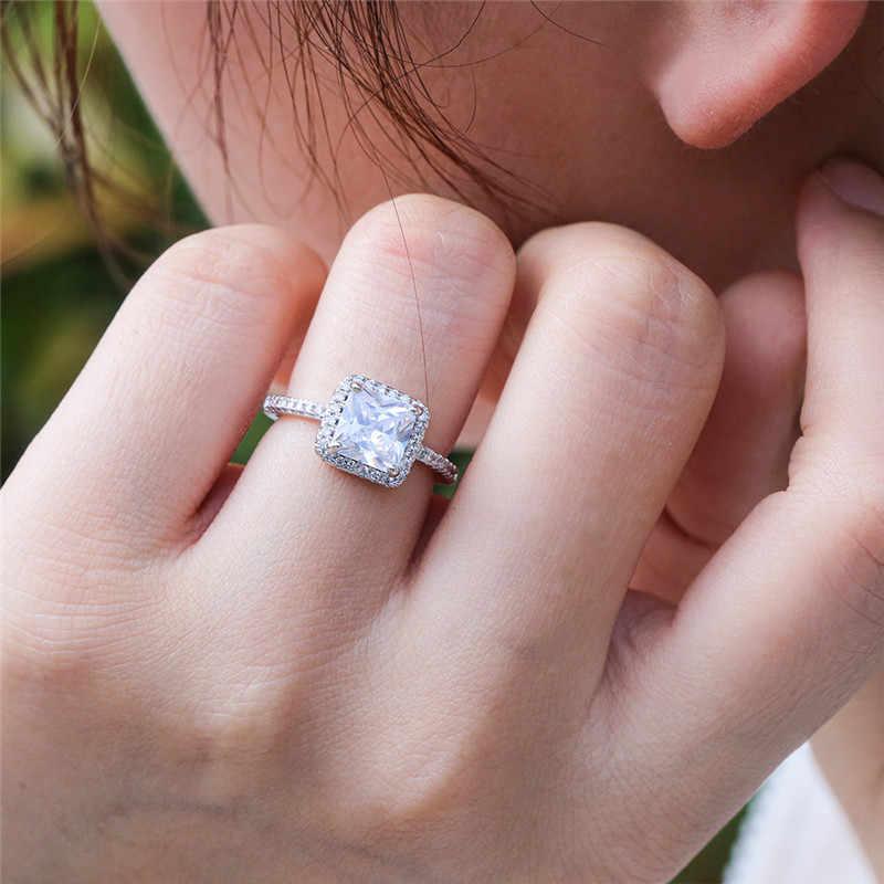 925 טבעות כסף סטרלינג לנשים כלה חתונה Anelli טרנדי תכשיטי אירוסין לבן זהב צבע Anillos Muje