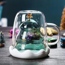 Милая Рождественская елка двойная стеклянная кофейная чашка