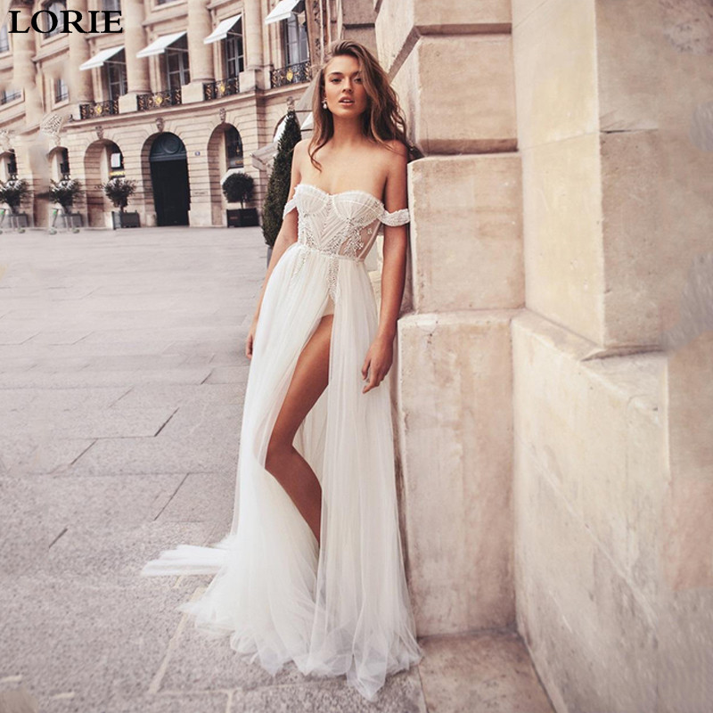 LORIE A Line Wedding Dress High Split Lace Bride Dress Off The Shoulder Vestidos De Novia Backless Boho Bride Wedding Gowns