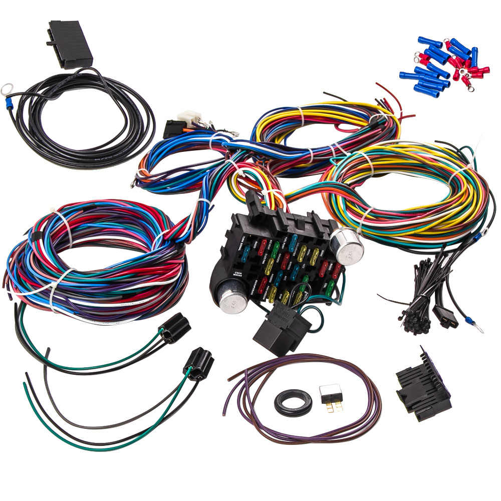 [SCHEMATICS_4PO]  21 Circuit Universal Wire Harness BRAIDED WIRE SHIELD 12v Street Wiring For  FORD Checy Wiring for CHEVY Mopar FORD Hotrod| | - AliExpress | Hot Rod Wiring Harness |  | AliExpress