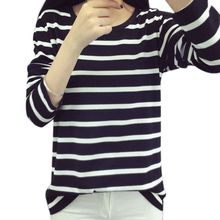 цена на 2019 harajuku T shirt Women Round Neck Striped Long Sleeve T-shirts For Women Slim Wild Black White T-shirt Plus Size Top