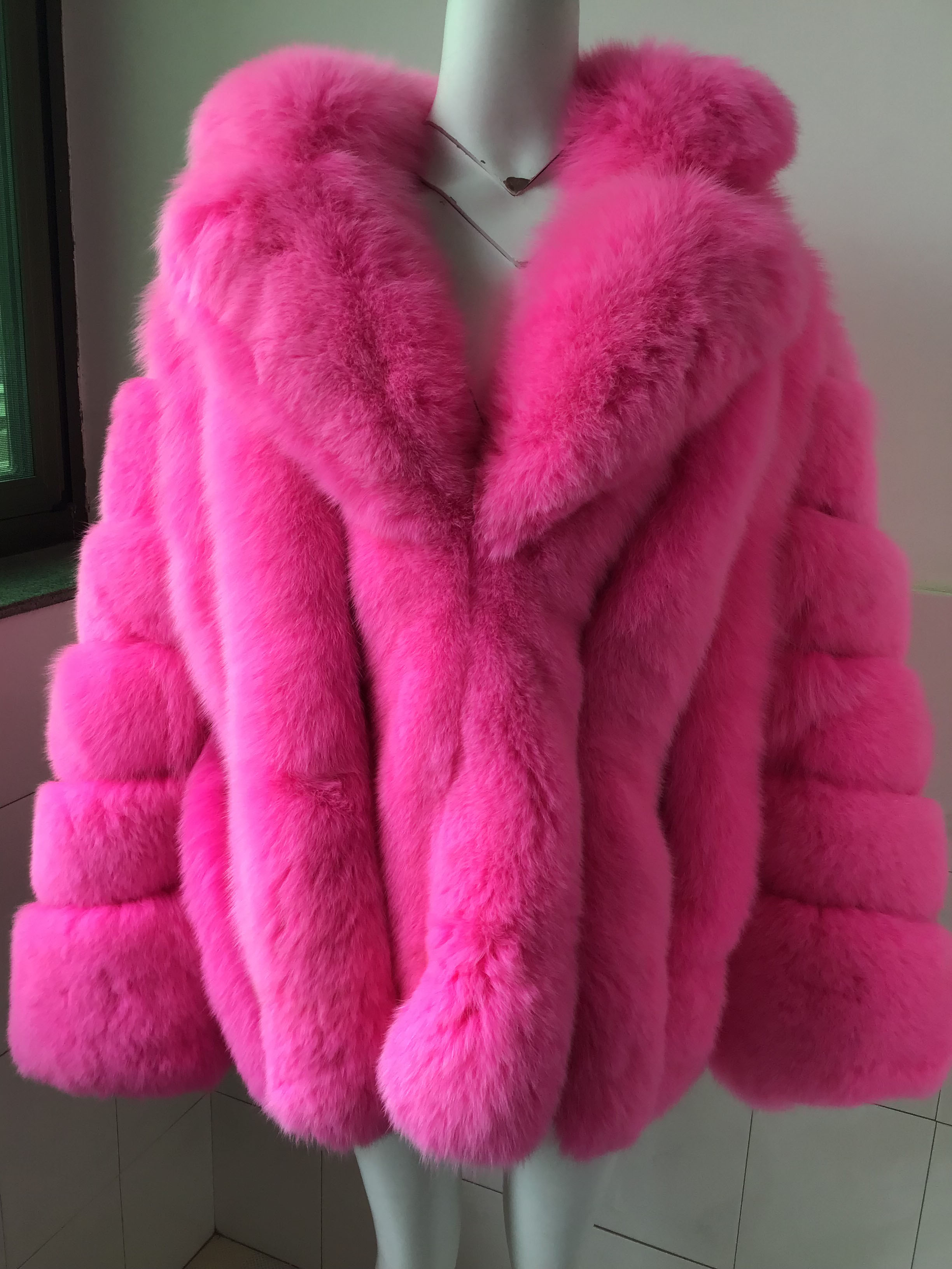 Hot Roze Vos Bont Verticale strepen patchwork lederen streep Grote Pak Kraag jas uitloper jacket winter parka plus size