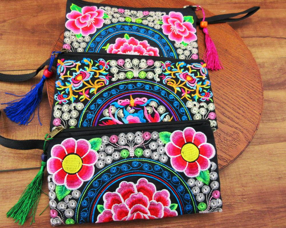 3 Pcs Wristlet Bag Vintage Hmong Thai Indian Embroidered Bag Fashionable Clutch Purse, Boho Hippie Ethnic Cosmetic Bag SYS-465d