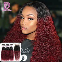 Racily Hair 1B/Burgundy Brazilian Kinky Curly Human Hair Bundles With Closure 99J Ombre Bundles With Closure Red Remy Extensions